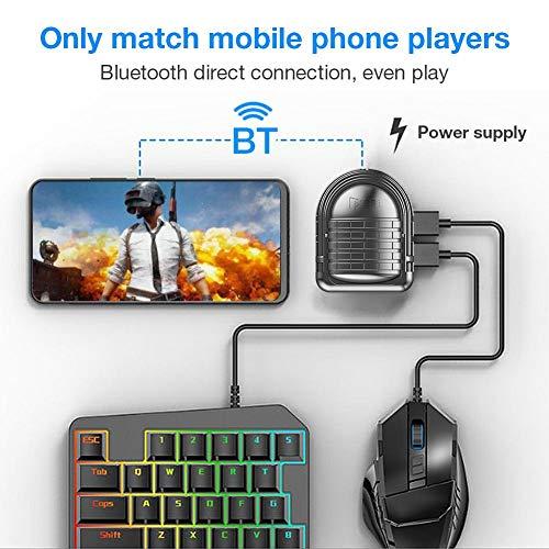 Convertidor De Adaptador De Teclado Y Mouse para Juegos, Combinación De Teclado Y Mouse Periférico Auxiliar Móvil Bluetooth, Adecuado para Teléfonos Móviles Y Tabletas, Compatible con iOS Y Android