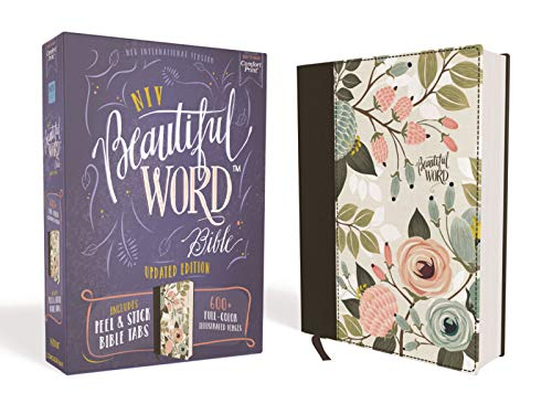 Compare Textbook Prices for NIV, Beautiful Word Bible, Updated Edition, Peel/Stick Bible Tabs, Cloth over Board, Floral, Red Letter, Comfort Print: 600+ Full-Color Illustrated Verses Illustrated Edition ISBN 0025986453428 by Zondervan