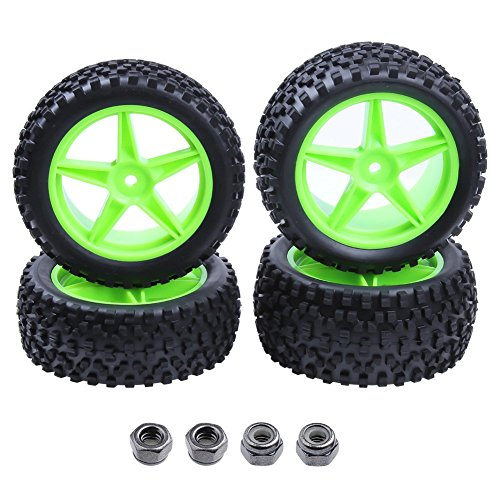 4pcs Front & Rear Rubber Tires & Wheel Rims Sets for RC Redcat 1/10 Off Road Buggy Shockwave Nitro Tornado S30 EPX HSP Backwash Warhead Exceed Replacement