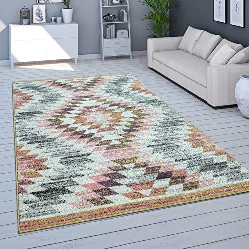 Tapis De Salon, Poils Ras Moderne Couleurs Pastel, Coloris Et Tailles Variés, Dimension:120x170 cm, Couleur:Multicolore