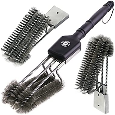 Alpha Grillers 18  Grill Brush. Best BBQ Cleaner. Safe For All Grills. Durable & Effective. Stainless Steel Wire Bristles And Stiff Handle. A Perfect Gift For Barbecue Lovers.