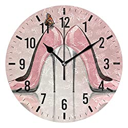 Blueangle 10in Non-Ticking Elegant Pink High Heel Shoes Wall Clock, Silent Battery Operated Wall Clock for Kids Living Room Bedroom Kitchen School Office Decor