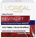L'Oréal Paris Cuidado de noche Revitalift, cuidado facial antienvejecimiento, antiarrugas y extra firmeza, proelastina y aceite de hueso de albaricoque, 50 ml