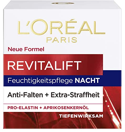 L'Oréal Paris Revitalift Nachtpflege, mit Pro-Elastin und Aprikosenkernöl, glättet Falten über Nacht, 50 ml
