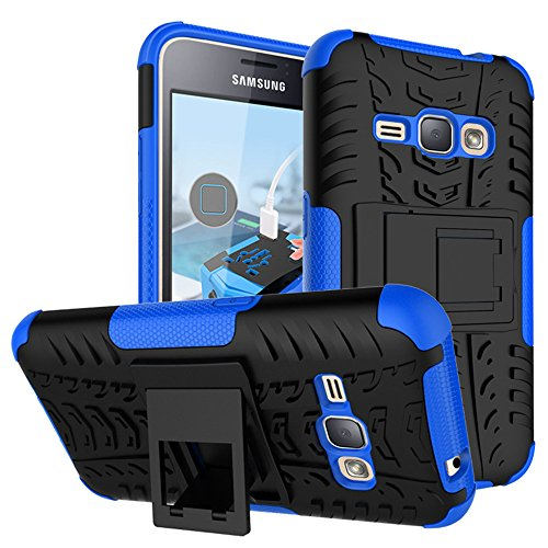 MINGYOUNG Samsung Galaxy J1 2016/J120 Hülle Hybrid Armor Bumper Hart Tough Case mit Kickstand Cover Schutzhüllen Schockabsenkung Handyhülle für Samsung Galaxy J1 2016/J120 (Blau)