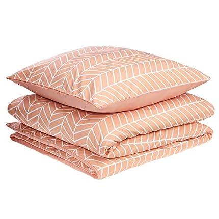 Amazon Basics - Juego de fundas de edredón y almohada de microfibra premium (135 x 200 cm / 80 x 80 cm), rosa anaranjado chevrón