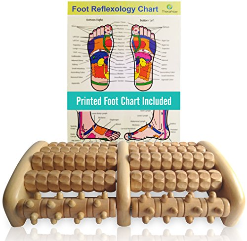 TheraFlow Large Dual Foot Massager Roller - Plantar Fasciitis, Heel, Arch Pain Relief -Enhanced Model 2019- Laminated Foot Chart & Detailed Instructions Included - Stress Relief, Relaxation Gift