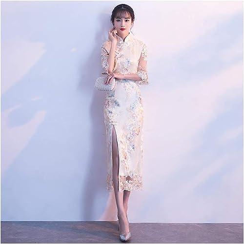 ATLD Cheongsam Noble Mariée Robe De Mariée élégante Fille Fleur Qipao Classique Col Mandarin Cheongsam Robes De Soirée Féminines Orientales