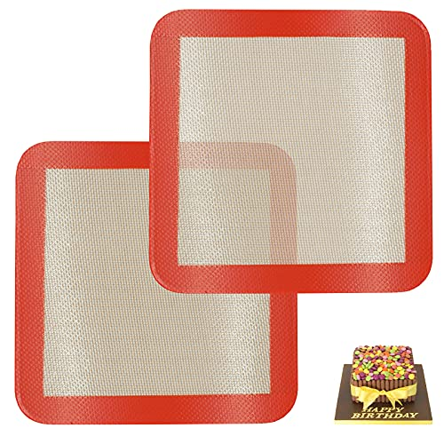 Square Silicone Baking Mats for 9 Inch Cake Pan, 8.5' Food Grade Non-stick Reusable Silicone Mat for Baking Pan for Bread/Pastry/Toast/Pie, Professional Cookie Sheets Liners for Brownie Pan 2 PCS
