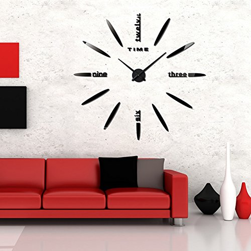 FAS1 Modern DIY Large Wall Clock Big Watch Decal 3D Stickers Mirror Effect Acrylic Wall Clock Home Office Removable Decoration for Living Room - Black (Battery NOT Included)