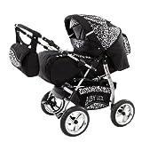 Lux4kids Carritos King con asiento de coche  y ruedas tipo neumático R8,sombrilla, diseño negro cósmico y leopardo de nieve 27