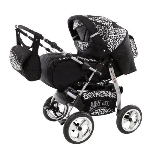 Lux4Kids King avec siège d'auto et parasol 27 noir cosmique & léopard de neige