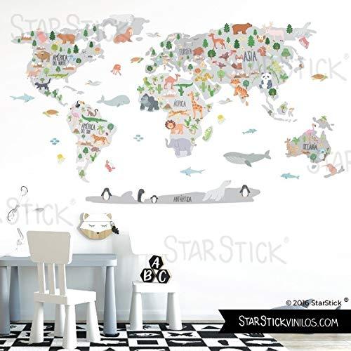 StarStick - Mapa mundi dibujos animales - Tonos gris