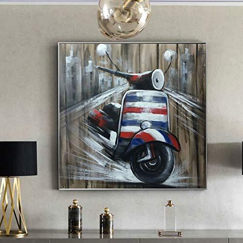 YuanMinglu Moderne abstrakte Leinwand Wandkunst Poster und Druck Wanddekoration Teekanne Motorrad Wohnzimmer Bild rahmenlose Malerei 60x60cm