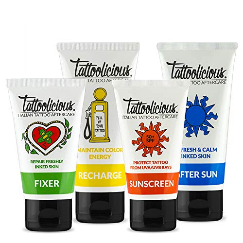 Tattoolicious COMPLETE COMBO - FIXER 75ml + RECHARGE 100 ml + SUNSCREEN 50+ SPF 75 ml +AFTER SUN 100 ml