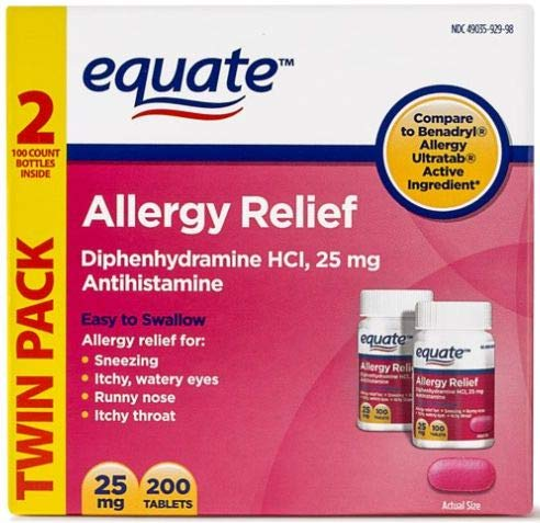 Equate Allergy Relief Diphenhydramine HCI, 25mg Antihistamine, 100 Tablets, Twin Pack