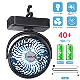 7. REENUO 4400mAh Camping Fan with LED Lights,40 Hours Max Working Time Tent Fan with Hanging Hook,Rechargeable Battery Operated Desk Fan for Home & Office