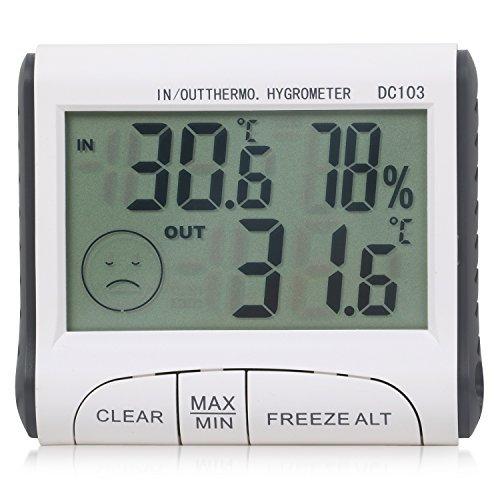 TRIXES digitales LCD Innen-Aussen-Thermometer und Hygrometer für Zuhause oder Gewächshaus