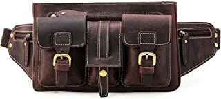 Wsw Crazy Horse Leather Fashion Casual Men's Bag Outdoor Men's Leather Pockets Leather Messenger Bag Chest Bag (Dark Brown) Comfortable Large Capacity