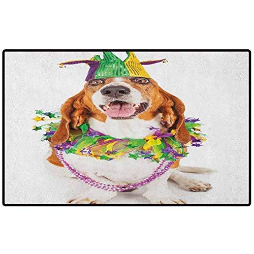 Mardi Gras Entryway Rug 48x30 Happy Smiling Basset Hound Dog Wearing a Jester Hat Neck Garland Bead Necklace Funny Doormat Indoor Outdoor Rug