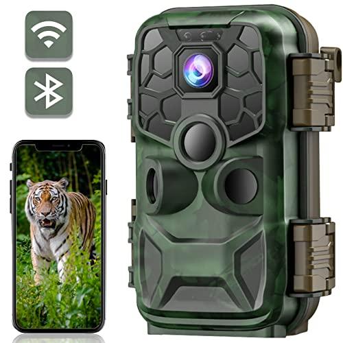 CAMPARKCAM WLAN Bluetooth Wildkamera 24MP 4K Wildkamera mit Bewegungsmelder Nachtsicht 20m, 2,4'' LCD Jagdkamera 0,2s Schnelle Trigger und IP66 Wasserdicht für Jagd und Tierbeobachtung