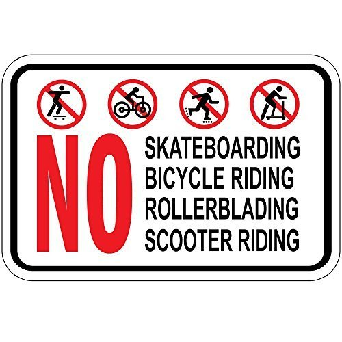 WenNuNa Aluminium Metalen Teken Geen Skateboarden Fiets Riding Rollerblading Scooter Riding Osha Teken 10 in x 14 in