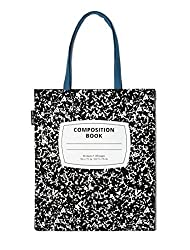 out of print composition notebook black and white tote bag