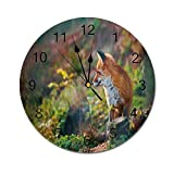 AEMAPE Reloj de Pared Redondo Fox, Zorro Rojo Joven Escuchando Algo en el Bosque, depredador de Vida Silvestre, Decorativo, marrón Claro, Blanco, Verde