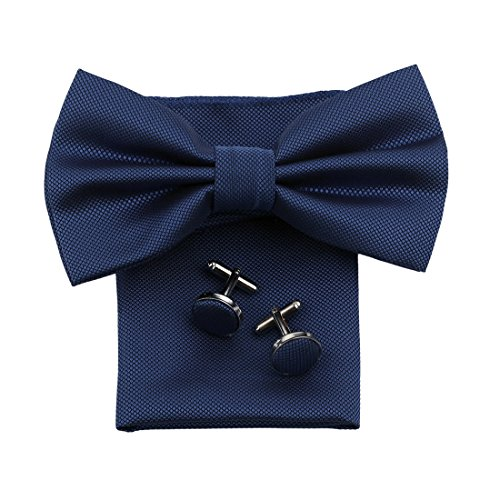 Dan Smith DBC3013 Navy Plaid Bowtie Set Lowest Polyster Pre-Tied Bowties Hanky Cufflinks Set