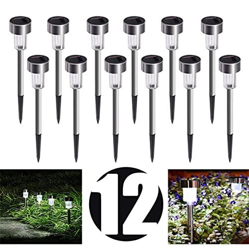 Lot de 12 lampes solaires à LED pour jardin, terrasse, patio, pelouse, entrée, étanchéité IP65