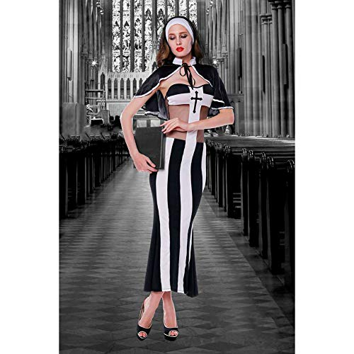 Sexy Schwarze Nonnen-Kleid,Faschingskostüme Cosplay Halloween Party Karneval Fastnacht Kleid Für Erwachsene,Schwarz
