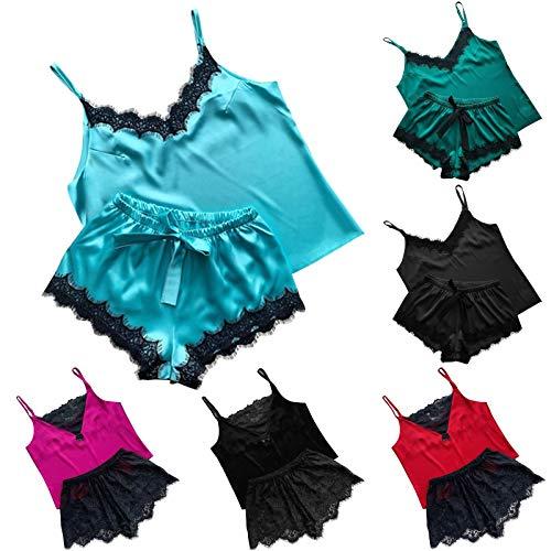 Binggong Sexy Schlafanzug Damen Unterwäsche Kurz Pyjama Set mit Shorts + Spaghettiträger Top für Frauen Spitzen Unterwäsche Dessous Sexy Sling Unterwäsche Kostüm Babydoll Sleepwear