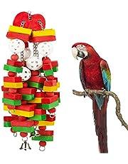 Mumoo Bear Bird Block Toys with Bells for Medium Parrots