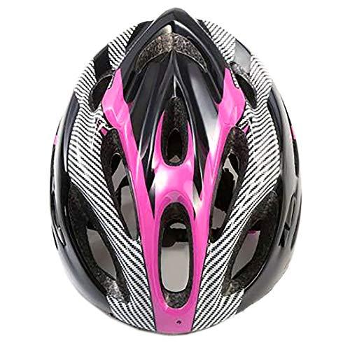 YATT Casco De Bicicleta, 21 Hoyos Cómodo Moldeado De Una Pieza Transpirable con Visera Tamaño Ajustable Casco De Bicicleta Rosa para Montar En Carretera Unisex
