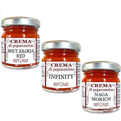 3 Creme ORIENT EXPRESS Bhut Jolokia, Infinity, Naga Morich - Creme di Peperoncino della tradizione orientale KIT 90g