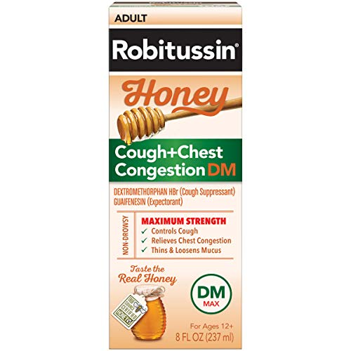 Robitussin Honey Adult Maximum Strength Cough + Chest Congestion DM Max, Non-Drowsy Cough Suppressant & Expectorant, Real Honey, 8 fl. oz. Bottle