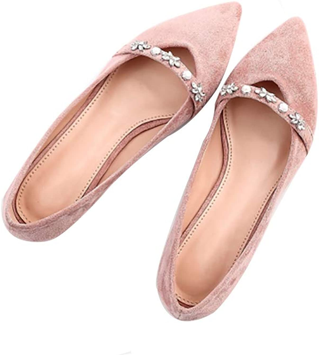 WENJUN Flat shoes Women's shoes Single shoes Female Flat with Wild Diamond Shallow Pointed Low-Heel Comfortable shoes (color   Bean Paste Powder, Size   39)