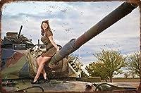 美しいレトロ金属装飾鉄塗装セクシータンク女の子金属ビンテージアートデコ