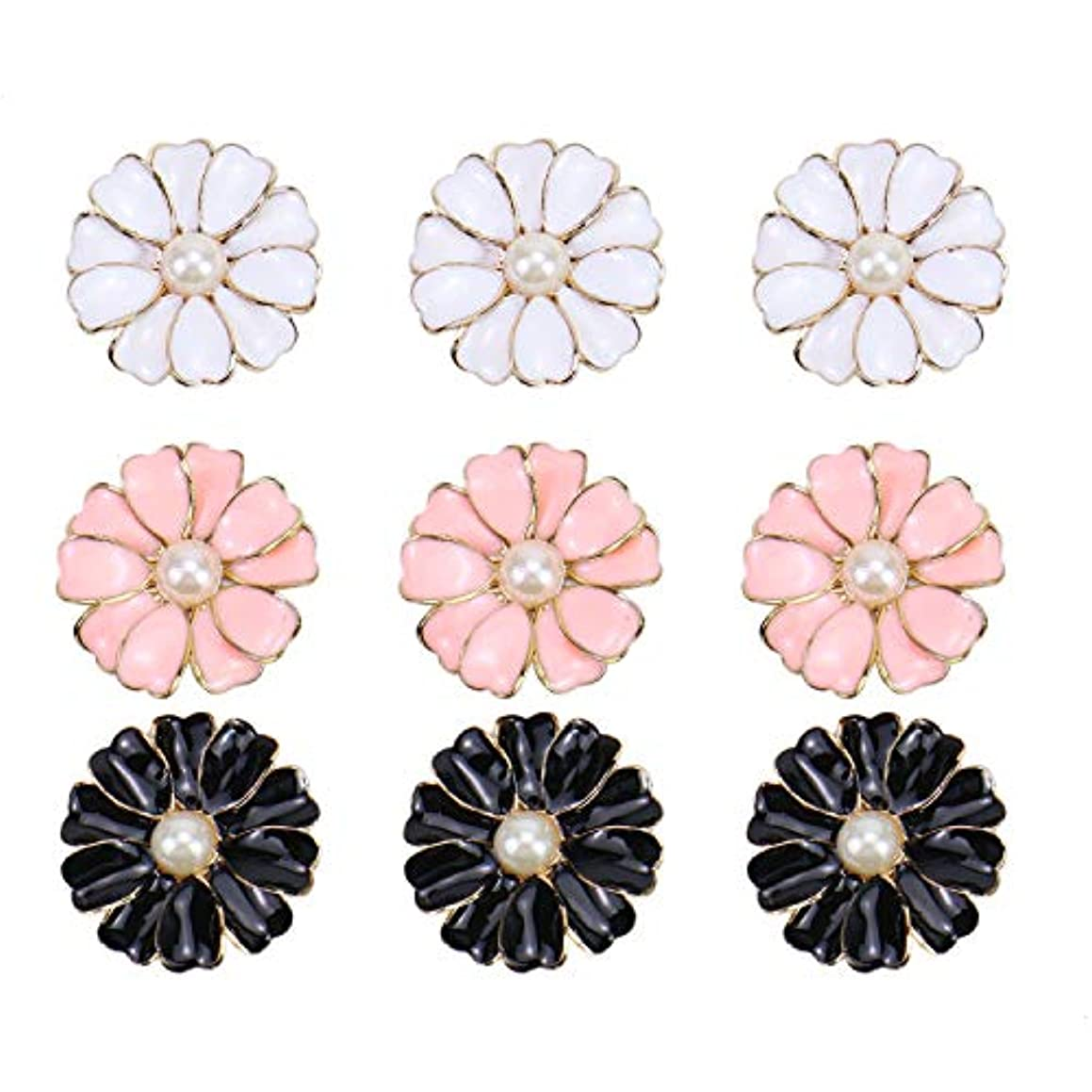 Monrocco 24Pcs 3Colors Metal Pearl Flower Flatback Button Embellishments for Crafts Scrapbooking