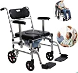 Commode Chair for Toilet, Rolling Shower Chair with Padded Toilet Seat for Handicap and Seniors, 250 lbs Weight Capacity for Elderly, Disabled, Pregnant Women