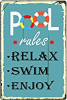 プールのルールリラックススイムエンジョイ、ブリキサイン、ヴィンテージ鉄の絵画金属板ノベルティプールの装飾