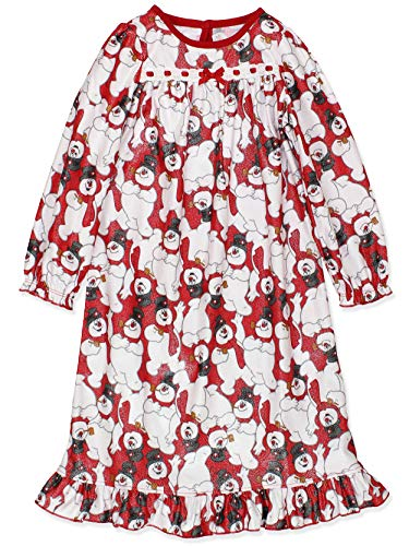 Frosty The Snowman Girls Christmas Holiday Granny Gown Nightgown (Medium / 7-8, White/Red)