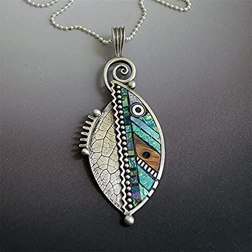 BEISUOSIBYW Co.,Ltd Collar de Moda Bohemia Verde Hoja Colgante Collar para Wen étnico Vintage Femenino Arco Iris Hojas serradas Collar declaración joyería