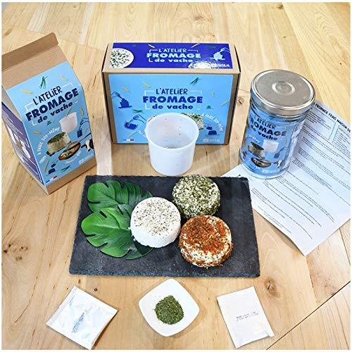 RADIS ET CAPUCINE - Kit DIY > - Pour Fabriquer son Propre Fromage - Moule de Qualité Professionnelle + Bocal en Verre + Ferments Lactiques + Ciboulette Bio - Conçu en France