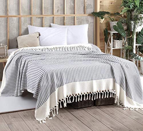 WSHFOR Vina Tagesdecke Überwurf Decke - Wohndecke hochwertig - ideal für Bett und Sofa, 100% Baumwolle - handgefertigte Fransen, 200x250cm (Blau)