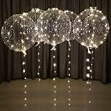 Lightsfevers Warm White led Balloons with Batteries Party Balloons 20 inch Clear Balloons Transparent Balloons for Helium or air, Wedding Balloons