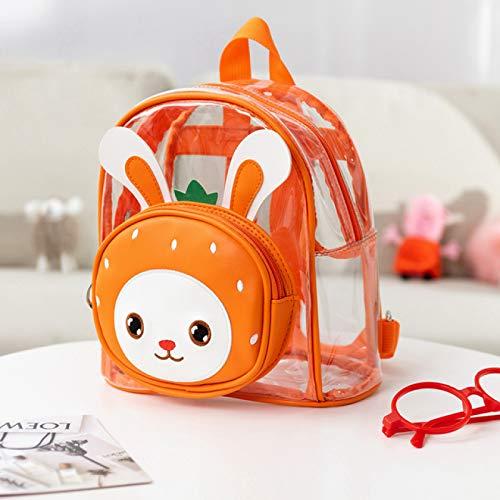 IADZ Mochila, Adorable Conejo de Dibujos Animados, Animales, niñas, niños, niños pequeños, Mochila Escolar Transparente, Linda Mochila para niños