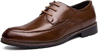Asifn Men's Tilden Plain Walking Oxford Vintage Brodie Leather Shoes Derby Lace Up Comfort Loafers