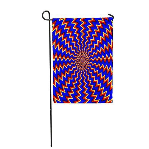 12,5 'x 18' Gartenflagge Blau Zickzack Eine weitere Bewegung Rot Abstrakte Blume Home Outdoor Dekor Doppelseitige wasserdichte Yard Flags Banner für Party