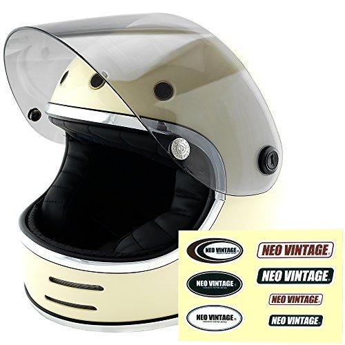 NEO VINTAGE レトロフューチャー フルフェイス SG規格品 ステッカー付 [アイボリー×ライトスモークシールド Lサイズ:59-60cm対応] VT-9 バイクヘルメット